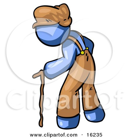 Old Senior Blue Man Hunged Over And Walking With The Assistance Of A Cane  Posters, Art Prints