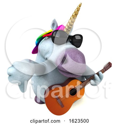3d Chubby Unicorn, on a White Background by Julos