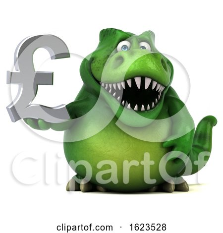 3d Green T Rex Dinosaur, on a White Background by Julos