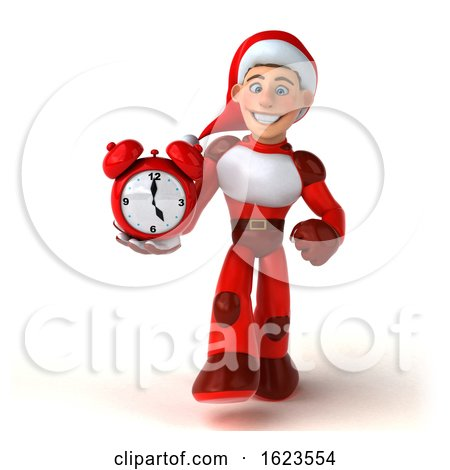 3d White Male Super Hero Christmas Santa, on a White Background by Julos