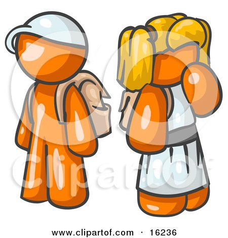 Orange Boy Wearing A Hat And Carrying A Backpack, Standing Beside A Blond Orange Girl In A Dress, Who Is Also Carrying A Backpack And Holding Her Hand By Her Mouth Posters, Art Prints