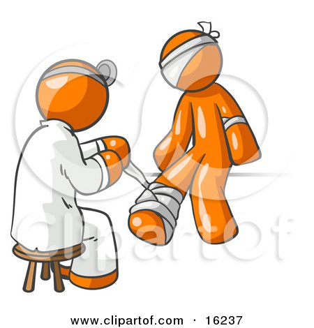Orange Male Doctor In A Lab Coat, Sitting On A Stool And Bandaging An Orange Person That Has Been Hurt On The Head, Arm And Ankle Clipart Graphic by Leo Blanchette