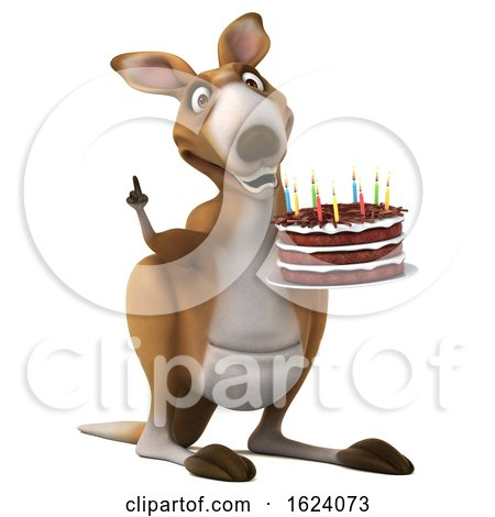 3d Kangaroo Holding a Birthday Cake, on a White Background Posters, Art Prints