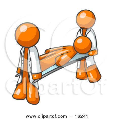 Injured Orange Man Being Carried On A Gurney To An Ambulance Or Into The Hospital By Two Paramedics After An Accident Or Health Problem  Posters, Art Prints