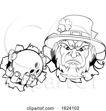 Leprechaun Bowling Mascot Ripping Background by AtStockIllustration