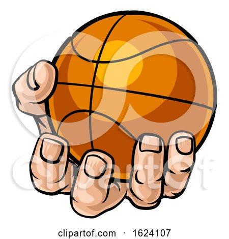 Hand Holding Basketball Ball by AtStockIllustration