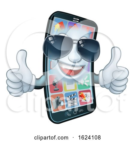 Mobile Phone Cool Shades Thumbs up Cartoon Mascot by AtStockIllustration