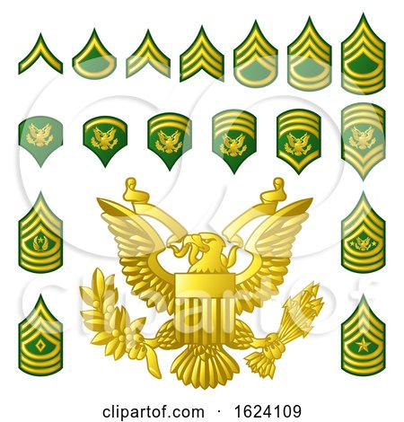 Military Army Enlisted Ranks Insignia by AtStockIllustration