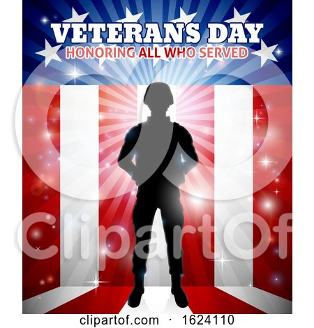 Soldier American Flag Veterans Day Design by AtStockIllustration