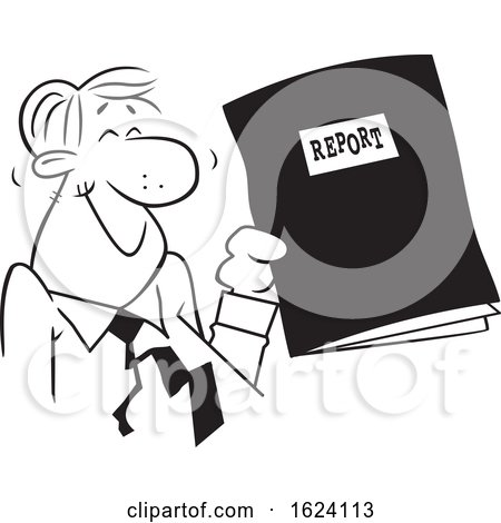 Cartoon Black and White Happy Business Man Holding a Good Report by Johnny Sajem