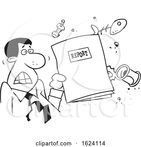 Cartoon Angry Black Business Man Holding a Garbage Report by Johnny Sajem