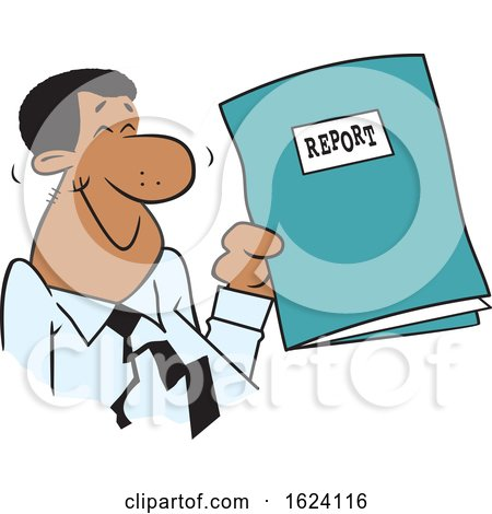Cartoon Happy Black Business Man Holding a Good Report by Johnny Sajem