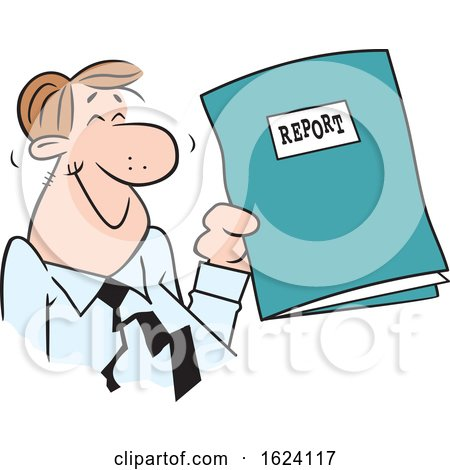 Cartoon Happy White Business Man Holding a Good Report by Johnny Sajem