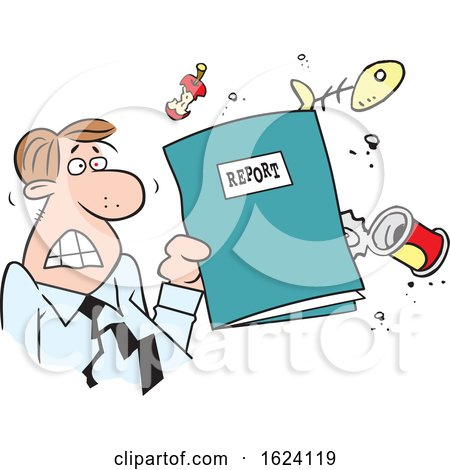 Cartoon Angry White Business Man Holding a Garbage Report by Johnny Sajem