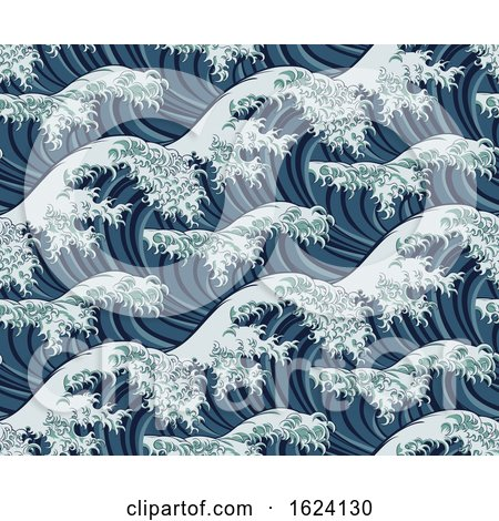 Japanese Great Wave Seamless Pattern Background by AtStockIllustration