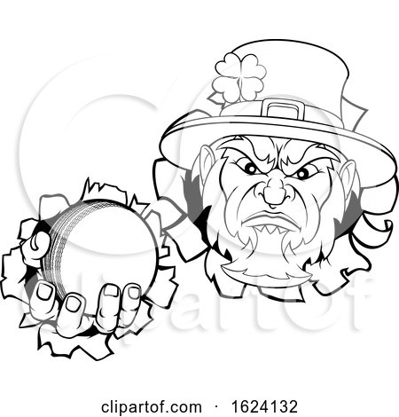 Leprechaun Cricket Mascot Ripping Background by AtStockIllustration