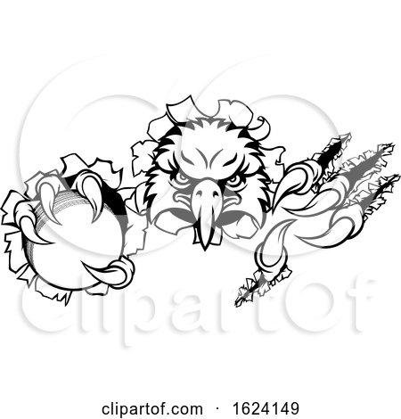 Eagle Cricket Cartoon Mascot Tearing Background by AtStockIllustration