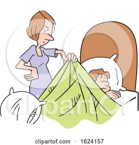 Cartoon White Mother Waking up Her Sleepy Son by Johnny Sajem