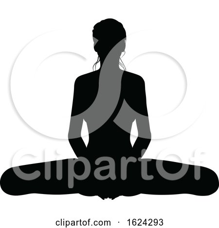 Yoga Pilates Pose Woman Silhouette by AtStockIllustration