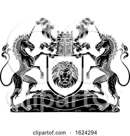 Shield Crest Unicorn Coat of Arms Heraldic by AtStockIllustration