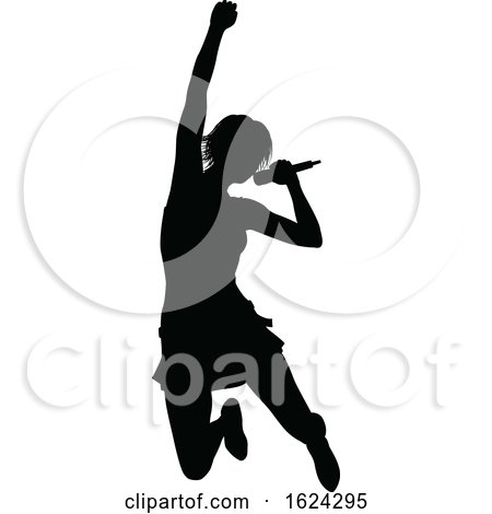 Singer Pop Country or Rock Star Silhouette Woman by AtStockIllustration