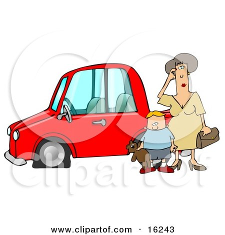 Worried Woman Sratcing Her Forehead And Wondering What To Do While Her Son Stands Beside Her, Holding His Teddy Bear, By Their Red Car With A Flat Tire  Posters, Art Prints