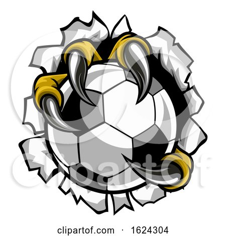 Soccer Ball Eagle Claw Talons Tearing Background by AtStockIllustration