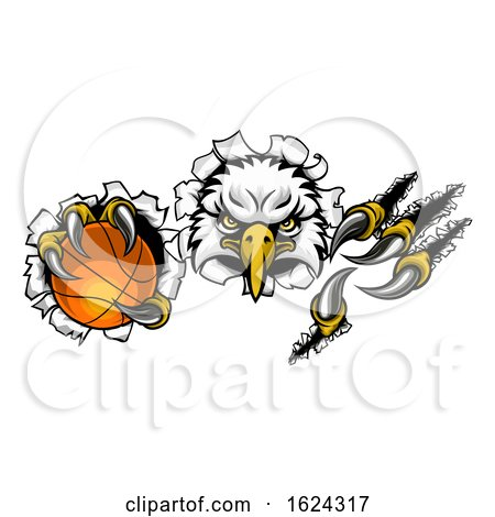 Eagle Basketball Cartoon Mascot Tearing Background by AtStockIllustration