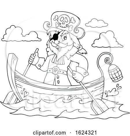 Black and White Pirate Captain in a Boat by visekart