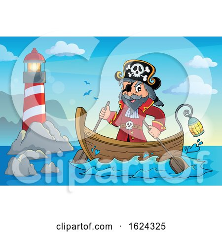 Pirate Captain in a Boat by visekart
