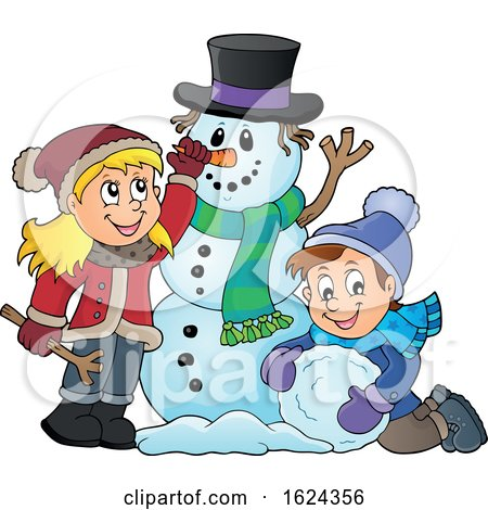Children Making a Snowman by visekart