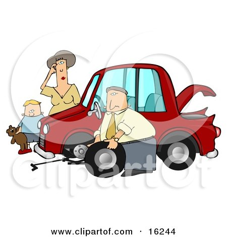 Little Boy Holding His Teddy Bear And Standing By A Worried Woman Sratcing Her Forehead And Watching As A Man, Her Husband Or Stranger, Changes The Flat Tire On Her Car Clipart Illustration Graphic by djart