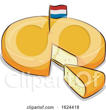 Netherlands Dutch Gouda Cheese Illustration by BNP Design Studio