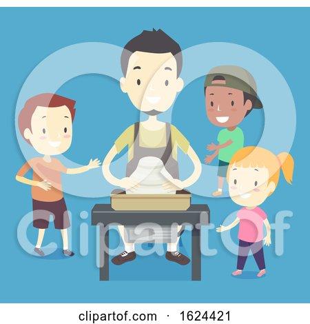 Kids Man Pottery Learning Illustration by BNP Design Studio