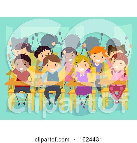 Stickman Kids Classroom Raise Hands Illustration by BNP Design Studio