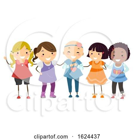 Stickman Kids Girls Friends Alopecia Illustration by BNP Design Studio