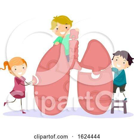 Stickman Kids Lung Puzzle Illustration by BNP Design Studio