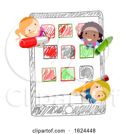 Stickman Kids Mobile Apps Drawing Illustration by BNP Design Studio