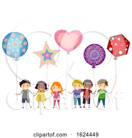 Stickman Kids Mylar Balloons Illustration by BNP Design Studio