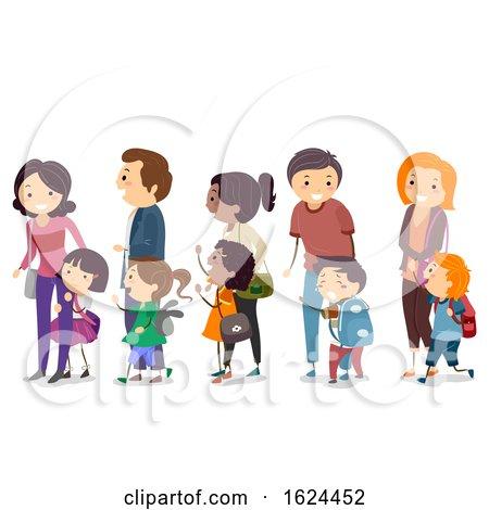 Stickman Kids Parents School First Day by BNP Design Studio