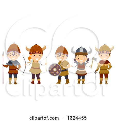 Stickman Kids Viking Outfit Illustration by BNP Design Studio