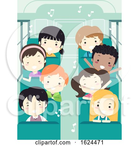 Kids Student Sing School Bus Illustration by BNP Design Studio