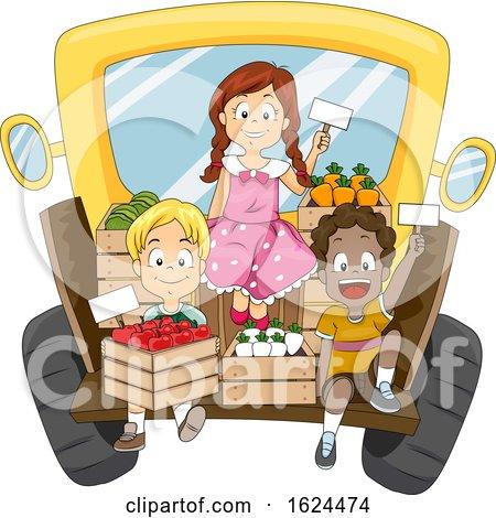 Kids Truck Sell Fruits Vegetables Illustration by BNP Design Studio