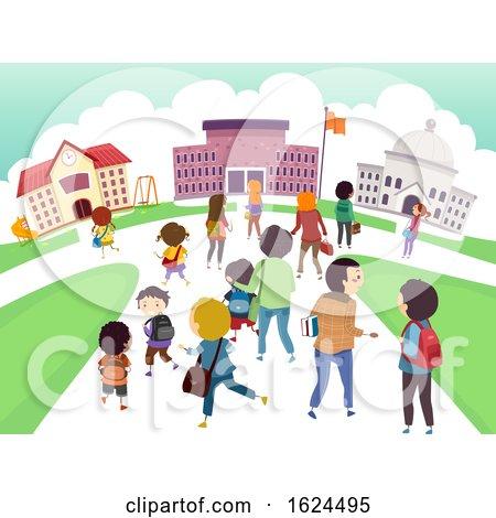 Stickman Kids Students School Level Illustration by BNP Design Studio
