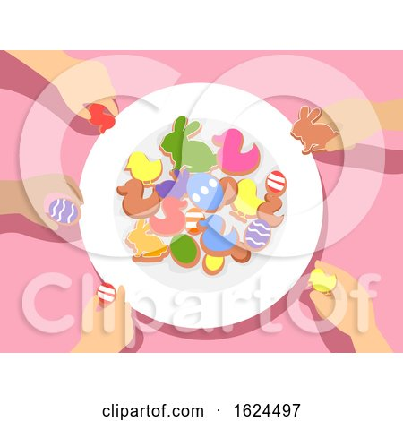 Kids Hands Plate Easter Party Treat Illustration Posters, Art Prints