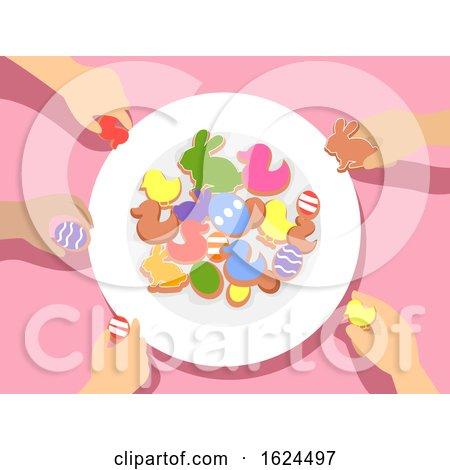 Kids Hands Plate Easter Party Treat Illustration by BNP Design Studio