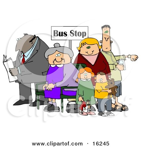 Old Lady Seated In A Chair At A Bus Stop, Surrounded By A Group Of People, Including A Man Reading A Newspaper, Woman With Her Two Children And A Man Listening To An Mp3 Player Clipart Illustration Graphic by djart