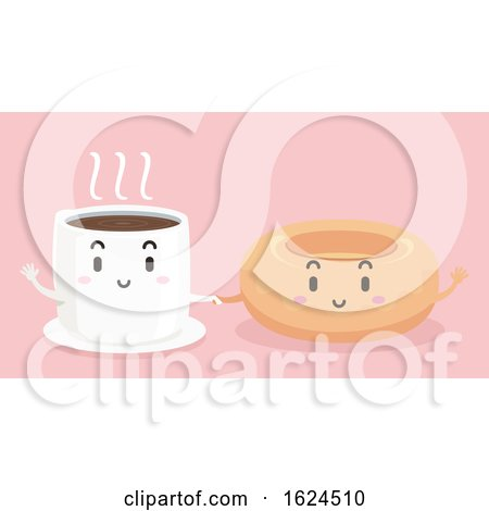 Mascot Coffee Donut Hold Hands Illustration by BNP Design Studio