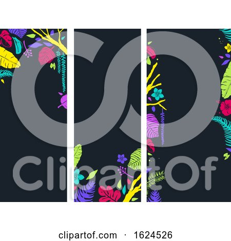 Stencil Tropical Banners Background Illustration by BNP Design Studio