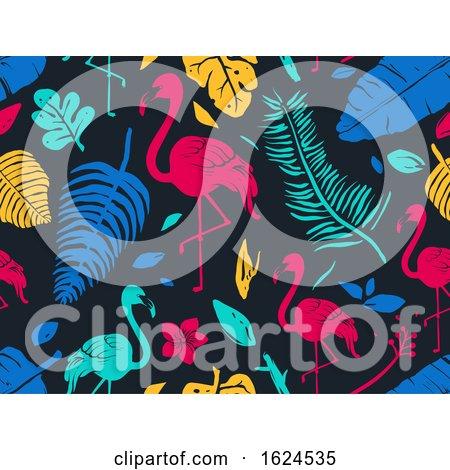 Stencil Tropical Flamingo Seamless Background by BNP Design Studio